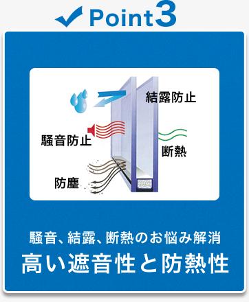 騒音、結露、断熱のお悩み解消 高い遮音性と防熱性